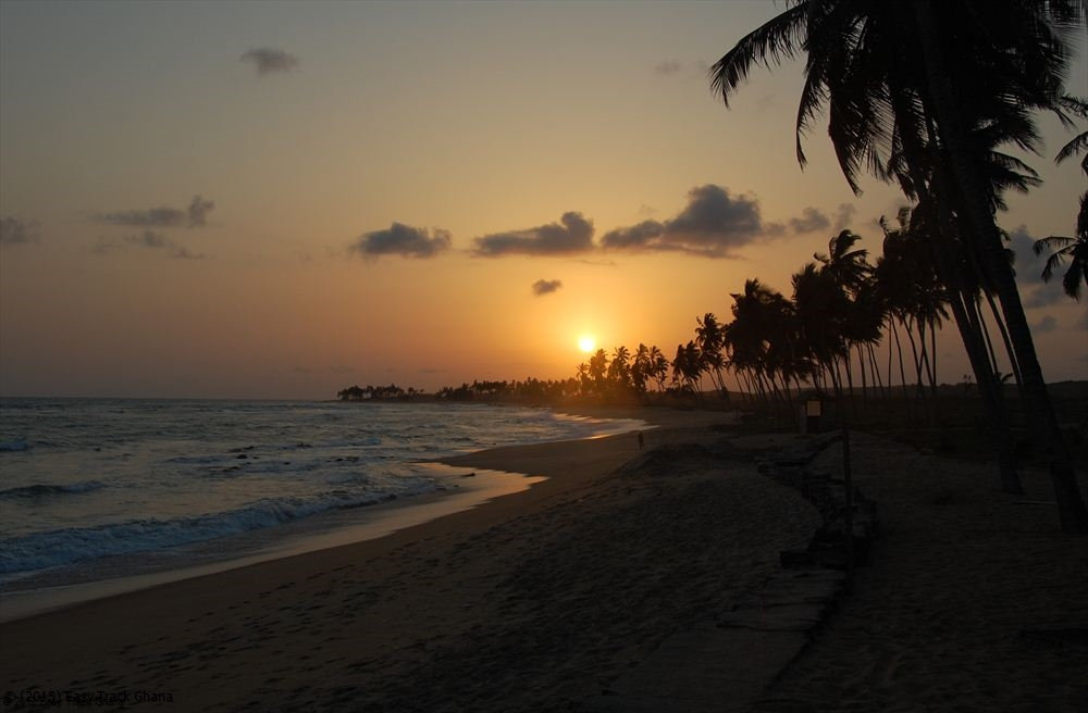 Beach sunset in Ghana