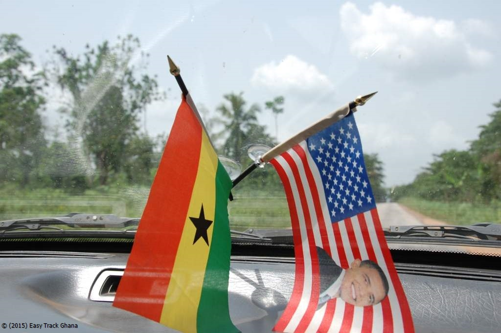 Ghana and USA flags