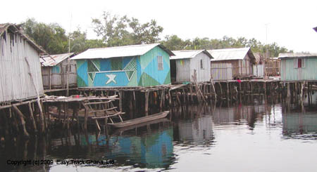 Stilt village of Nzulezu in Ghana