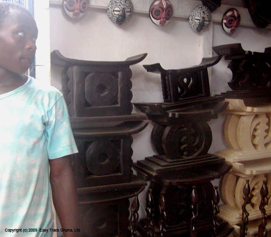 Ceremonial Ashanti stools at craft market in Ghana