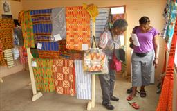 Kente cloth shop in Adanwomase, Ghana