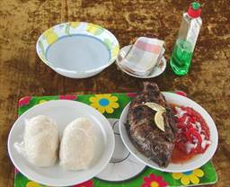 Banku and Tilapia with red pepper