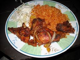 Chicken, Jollof Rice and Salad