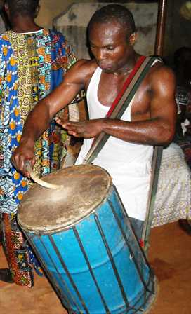 Traditional drumming at ceremony in Ghana