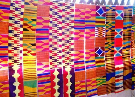 Hand woven Kente cloth in the Kente village of Adanwomase, Ghana