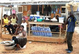 Many supplies are available at simple shops in Ghana