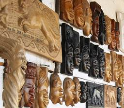 Hand made wood carvings and masks created by Maker Stone of Easy Track Ghana