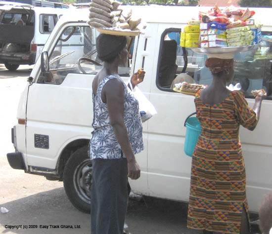 Vendors come to your vehicle in Ghana